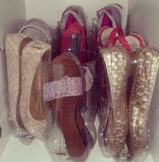 Empty Plastic Pop Bottle Transformed Into Shoe Organisers