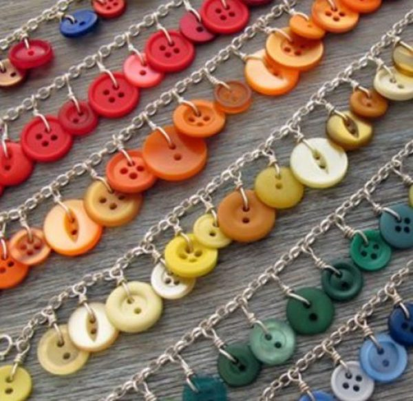 Clothes Buttons Recycled and Transformed Into a Necklace