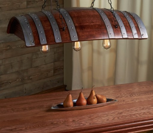 Wooden Barrel Transformed Into a Light Shade
