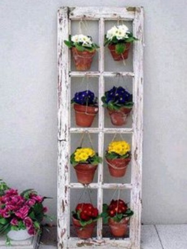 Old Windows Transformed Into a Planter