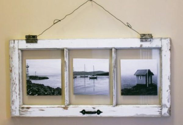 Old Windows Transformed Into a Picture Frame