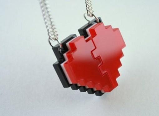 8-Bit Pixel Heart Friendship Necklace