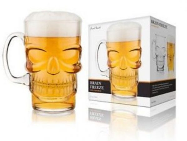 Brain Freeze Skull Beer and Pint Glass