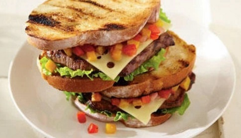 Swiss Cheese Steak Burger with Summer Salsa