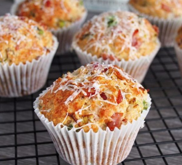 Parmesan, Bacon And Spring Onion Muffins