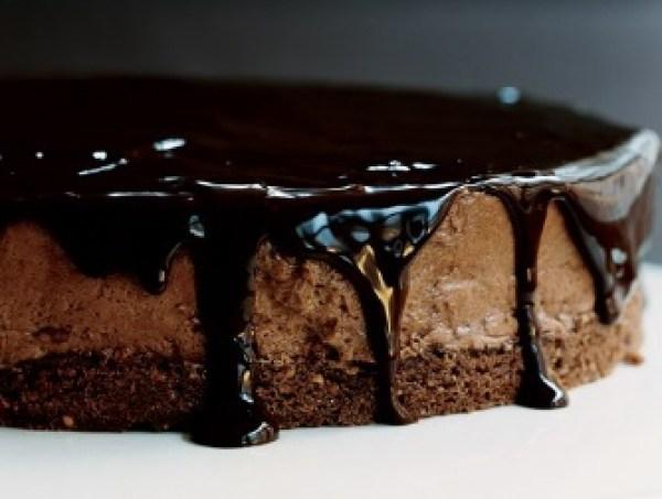 Chocolate-Glazed Hazelnut Mousse Cake