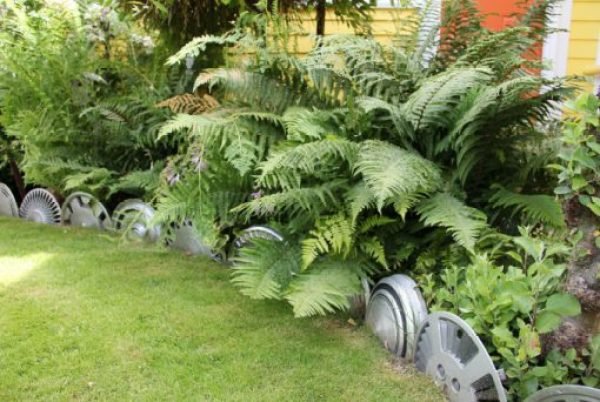 Wheel Trims Transformed Into Garden Edging