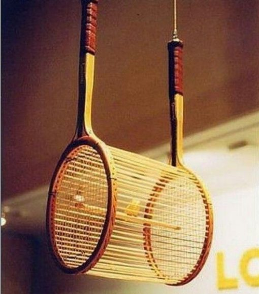 Sports Racket Transformed Into a Bird Cage