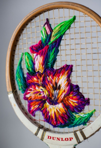 Sports Racket Transformed Into a Cross-Stich Frame