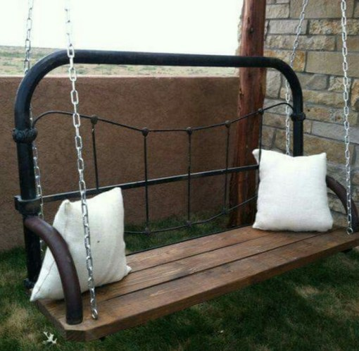 Bed Headboard Used to Make a Swinging Seat