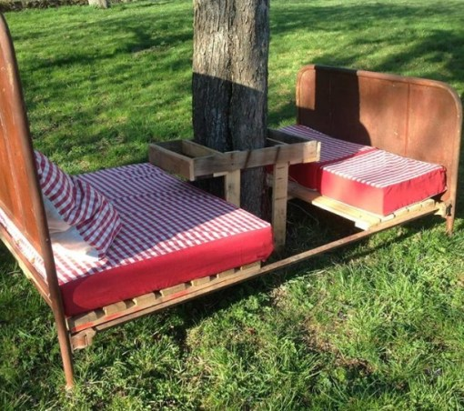 Bed Frame Used to Make Garden Sitting Furniture