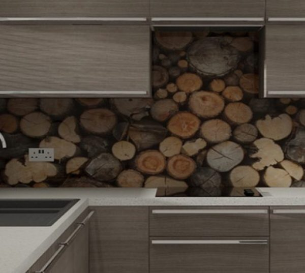 Kitchen Splash Back Made With Logs