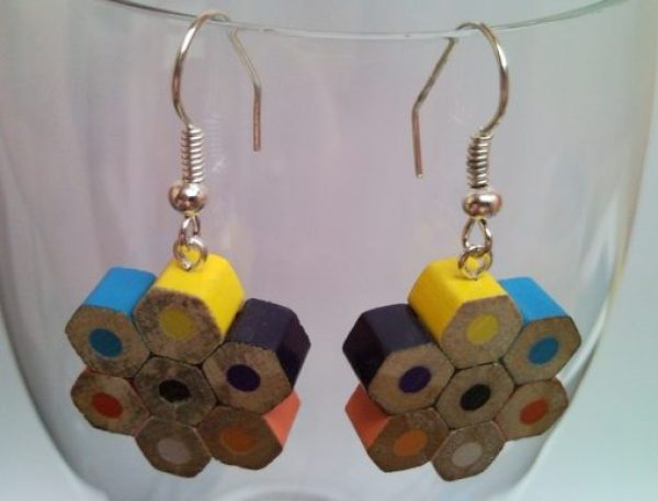Coloured Pencils Recycled Into Earrings