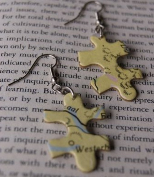 Puzzle Pieces Recycled Into Earrings