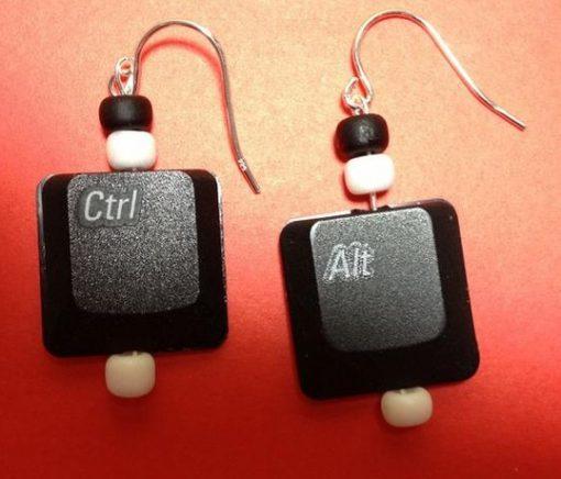 Keyboard Keys Recycled Into Earrings