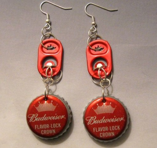 Beer Bottle Recycled Into Earrings