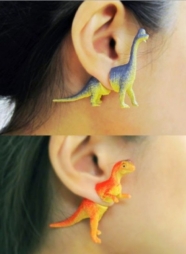 Toy Dinosaurs Recycled Into Earrings