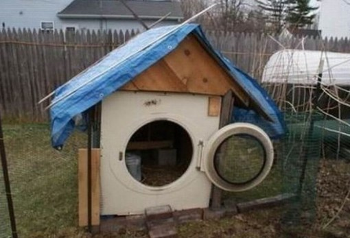 Tumble Dryer Turned into a Chicken Coop Entrance
