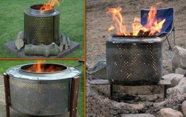Recycled Washing Machine Drum Turned Into a Fire Pit