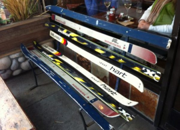 Skis repurposed as a bench