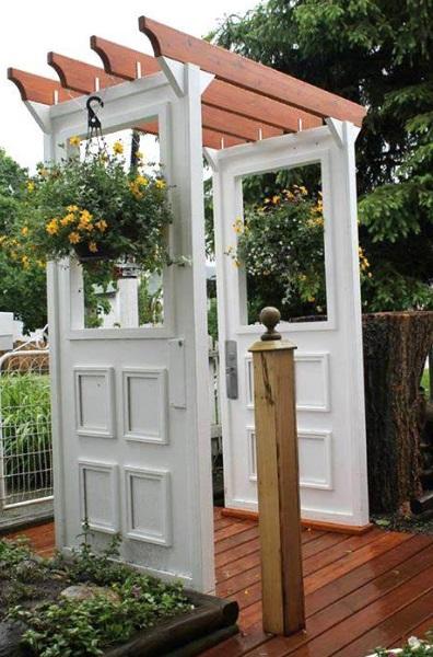 Doors Repurposed Into a Garden Arbor