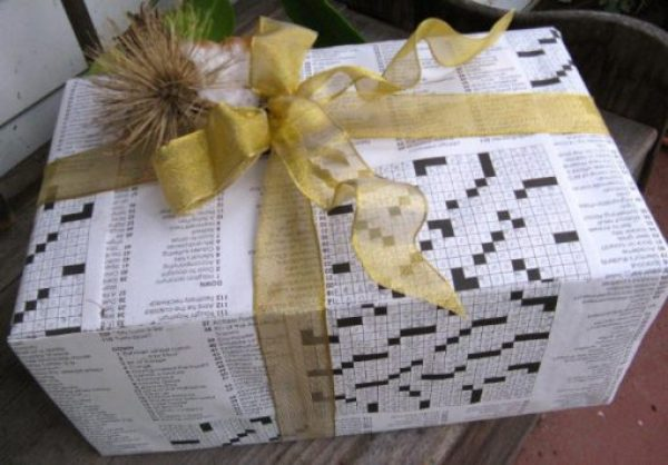 Gift Wrapped in Puzzle Book Pages