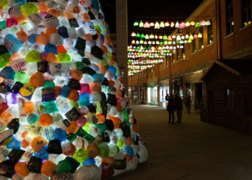 Christmas Tree Made From Recycled Plastic Bags