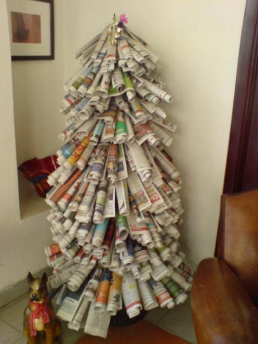Christmas Tree Made From Recycled Newspapers