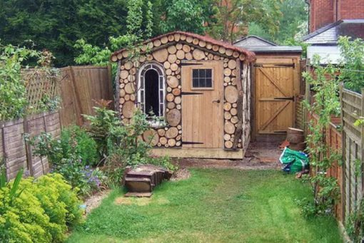 Logs Transformed Into a Garden Shed