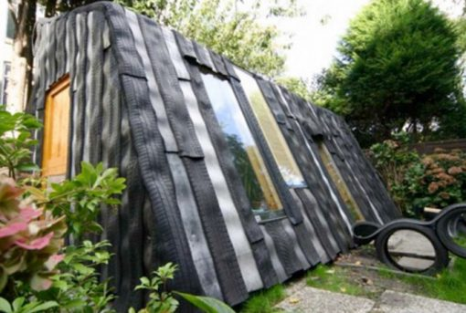 Tyres Transformed Into a Garden Shed