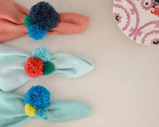 Pom Poms Turned into Napkin Rings