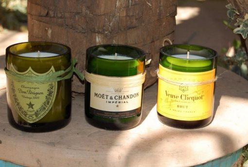 Candle Holders Made from a Champagne Bottle