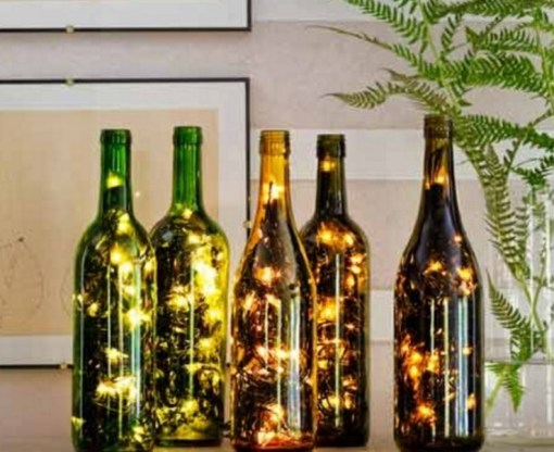 Decorative Light Made from a Champagne Bottle