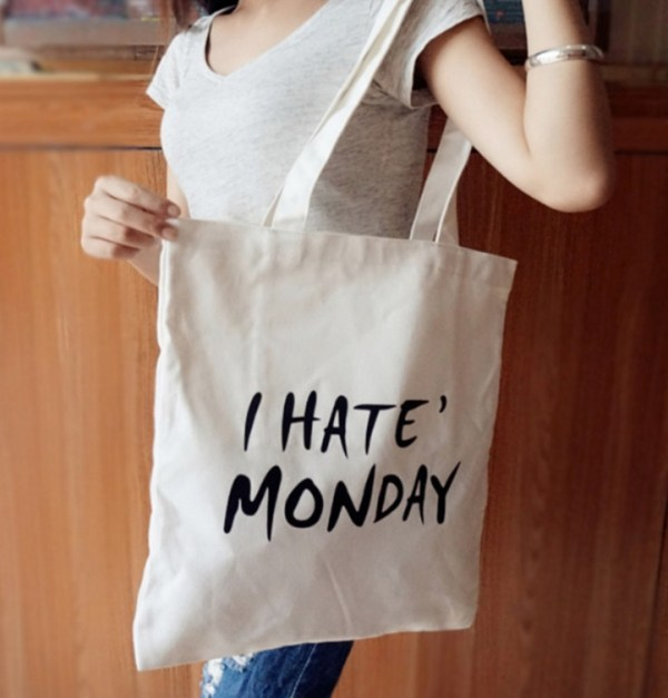 I Hate Monday Canvas Bag