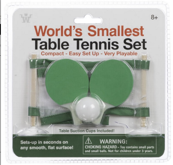 The world's Smallest Table Tennis Set
