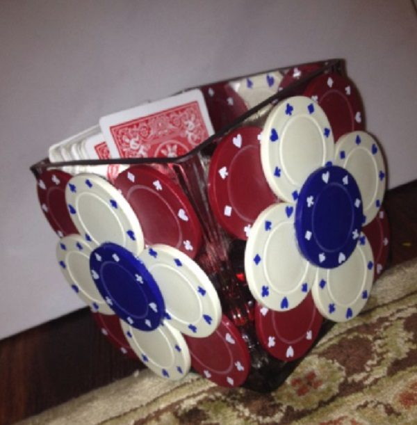 Casino Chips Used to Make a Stationery Holder