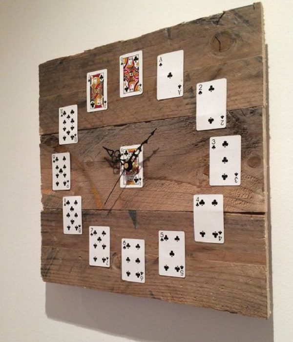 Old Playing Cards Used to Make a Clock