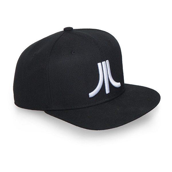 Black Japanese Logo Atari Flat Brim Baseball Cap