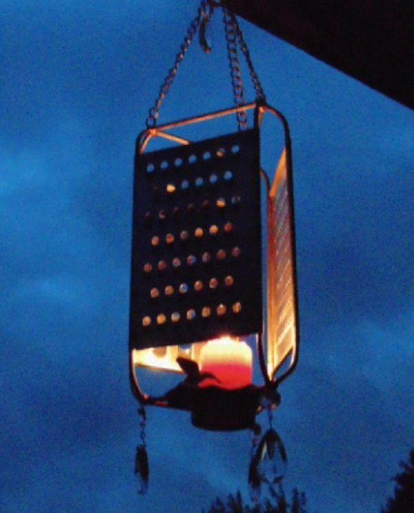 Cheese Grater Turned into a Hanging Lantern