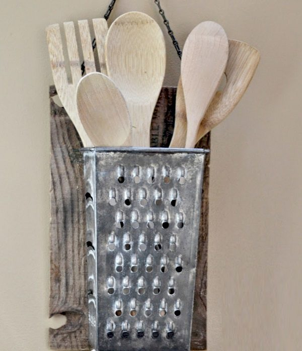 Cheese Grater Turned into a Utensil Holder