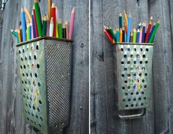 Cheese Grater Turned into a Pencil Holder