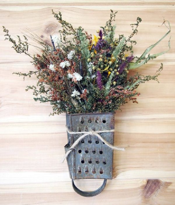 Cheese Grater Turned into a Display Vase