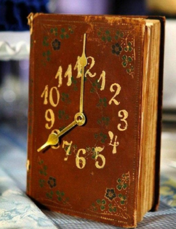 Clock made from old books