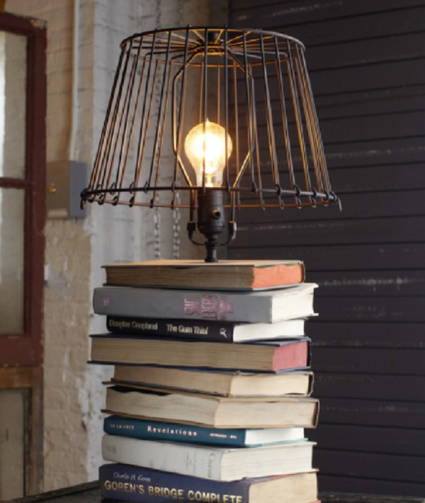 Lamp made from old books