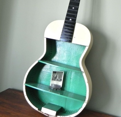 Old Guitar Turned Into Shelving