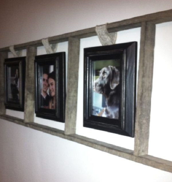 Old Wooden Ladder Used to Make a Picture Frame
