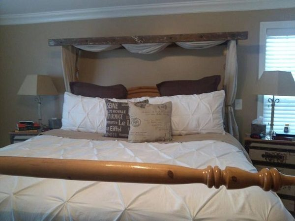 Old Wooden Ladder Used to Make a Bed Cloth Canopy