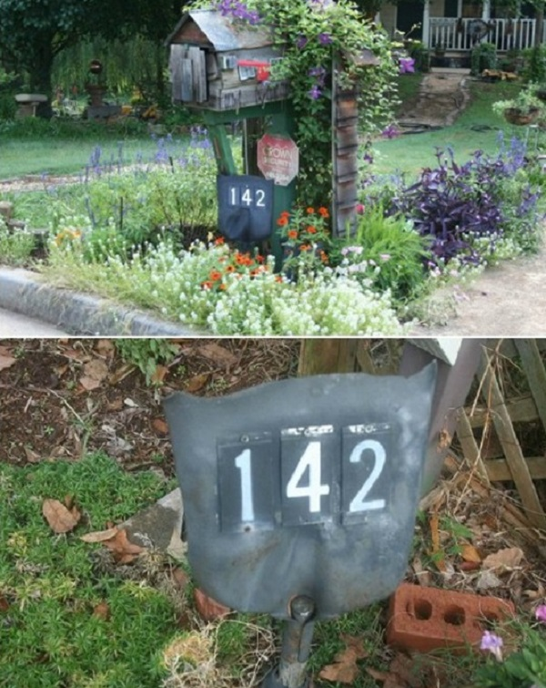 House Number Plate Made From a Garden Spade