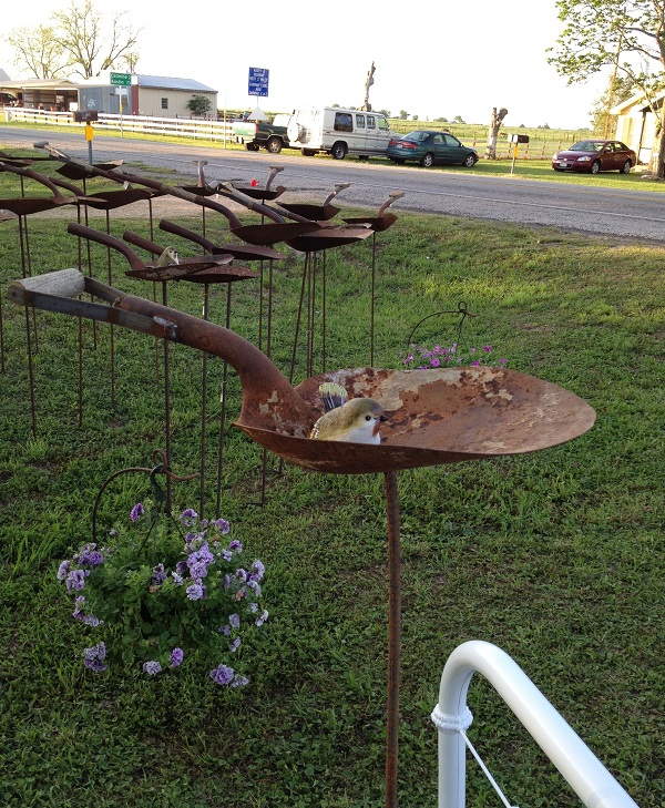 Bird Bath or Bird Feeder Made From Garden Spades
