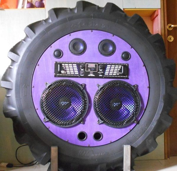 Stereo Mounted on an Old Tractor Tyre
